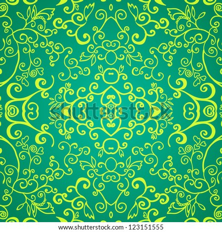 Seamless green emerald floral pattern for your web design, texture - stock vector