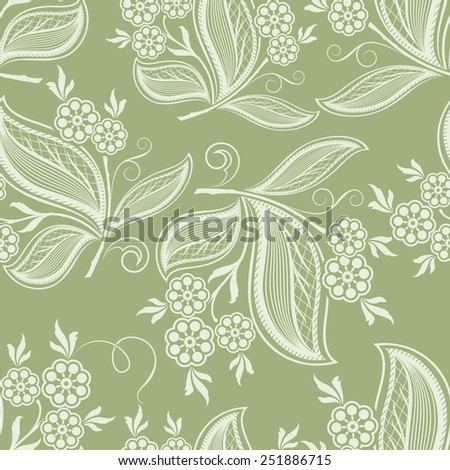 Seamless green floral spring vector background. - stock vector