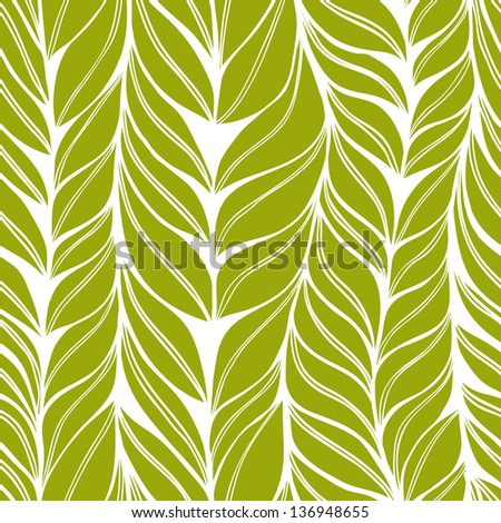 Seamless green pattern with hand drawn stylized leaves. Eps10 - stock vector