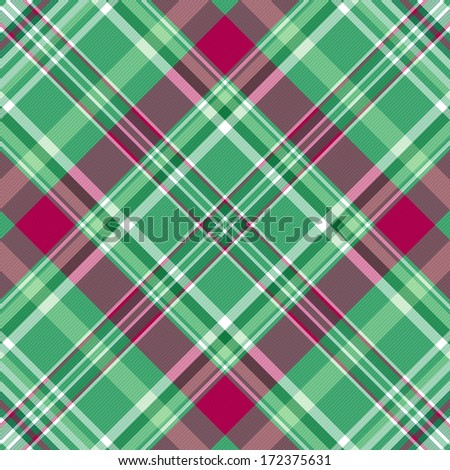 Seamless green-purple checkered pattern with diagonal translucent thin strips (vector eps 10) - stock vector