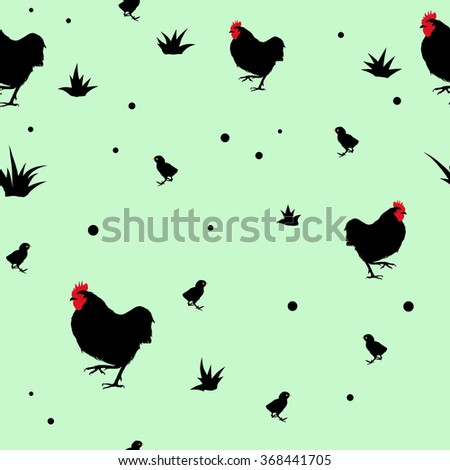 Seamless green vector pattern with farm  birds silhouettes - stock vector