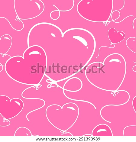 Seamless greeting card background with heart balloons
