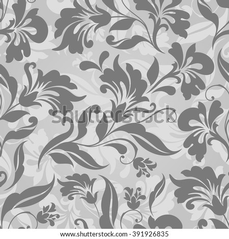 Seamless grey and white floral vector background. Seamless floral wrapping paper template or seamless website background. - stock vector