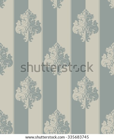 Seamless grey beige damask vintage pattern. Striped - stock vector