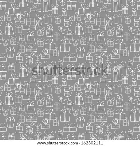Seamless grey texture with gift boxes. Can be used for wallpaper, pattern fills, textile, web page background, surface textures. Vector illustration  - stock vector