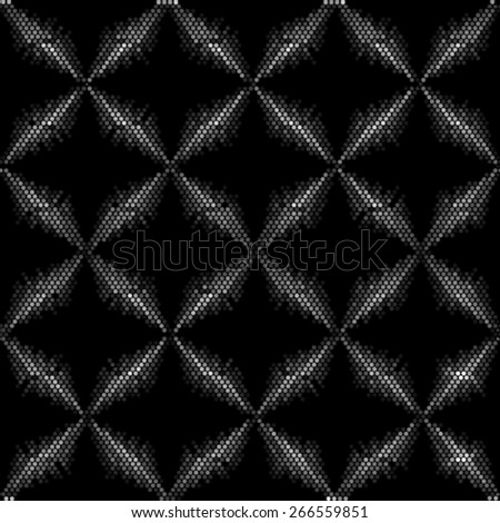 Seamless grid black and white texture. Dotted illustration background. Repeating halftone geometric element.