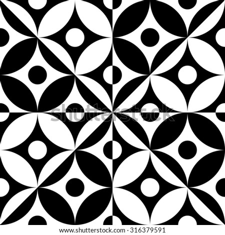 Seamless Grid Pattern. Vector Black and White Background. Regular Texture - stock vector