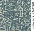Seamless grunge background - alphabet - stock photo