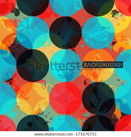 Seamless grunge background with bright circles and diagonal stripes - stock vector