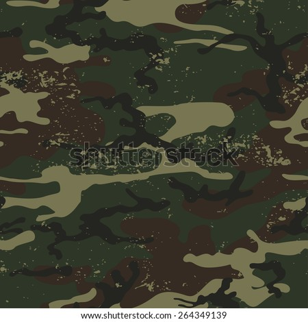 Seamless grunge camouflage pattern. Camouflage background vector. - stock vector