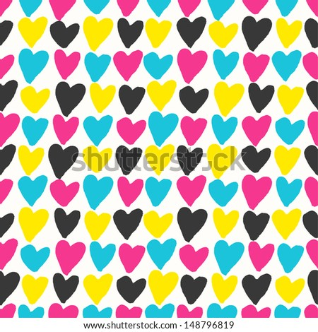 Seamless grunge hearts pattern in CMYK colors. Vector illustration - stock vector