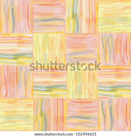 Seamless grunge quilt striped watercolor pattern - stock vector