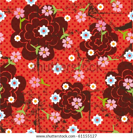 Seamless grunge retro flower background pattern in vector - stock vector
