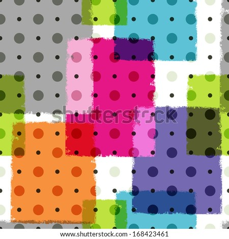 Seamless grungy colorful pattern with polka dots (vector eps 10) - stock vector