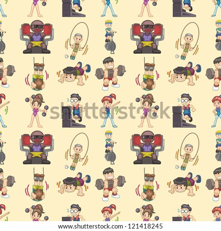 seamless gym pattern,cartoon vector illustration