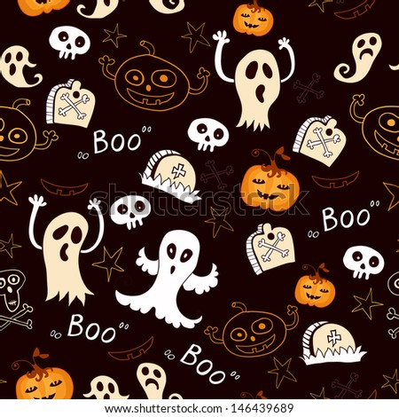 Seamless halloween background with ghosts, tombstones, pumpkins and stars - stock vector