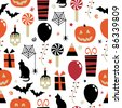 seamless halloween party pattern with clipping path - stock vector