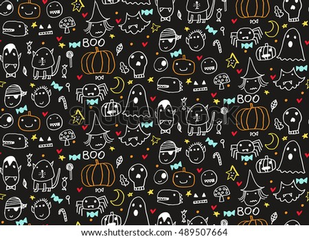 Seamless Halloween Pattern Card Banner Poster Stock Vector ...