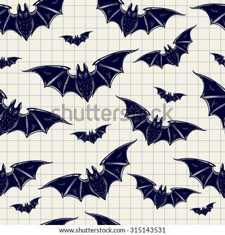 Seamless Halloween pattern. Halloween bats. Hand drawn holiday symbols. Isolated vector illustration. - stock vector
