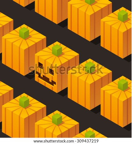 Seamless Halloween pattern of stylized isometric cartoon pumpkins, one with carved face. - stock vector