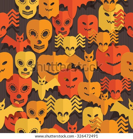 seamless Halloween pattern with cut out paper decorations - stock vector