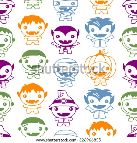 Seamless Halloween pattern with cute monsters - stock vector