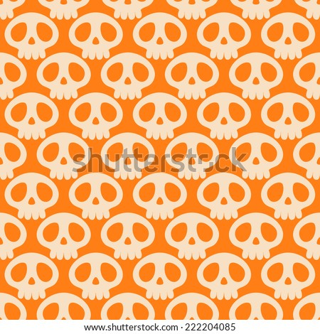 Seamless Halloween pattern with cute skulls - stock vector