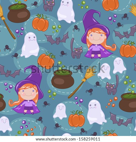 Seamless Halloween pattern with cute witch, cat, ghosts, bats, spiders and pumpkins. Vector illustration - stock vector