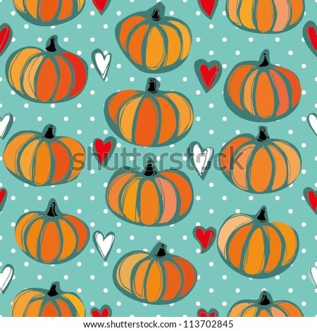 Seamless halloween pattern with orange pumpkins and hearts - stock vector