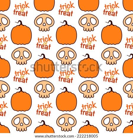 Seamless Halloween pattern with pumpkin and skull icons - stock vector
