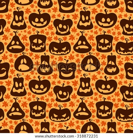 Seamless Halloween pattern with pumpkin face in different emotions - stock vector