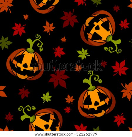 Seamless Halloween pattern with pumpkins and leaves on dark background - stock vector