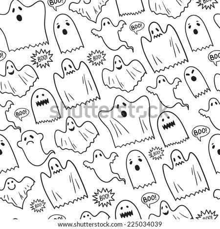 Seamless Halloween pattern with various of ghosts. Vector background. - stock vector