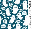 Seamless Halloween pattern with various spooky ghosts - stock vector