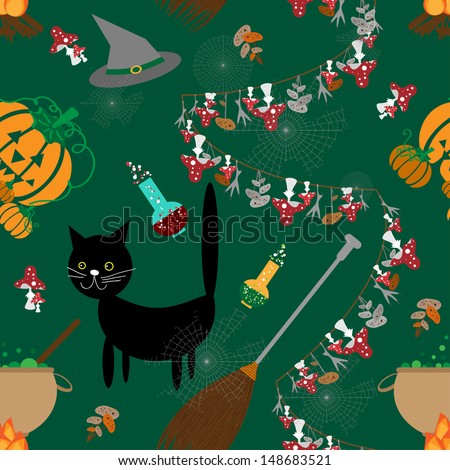 Seamless halloween with the cat potion and toadstool. - stock vector