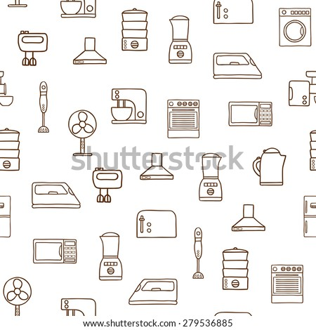Seamless hand drawn background on home appliance theme for your design - stock vector