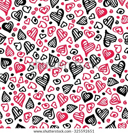 Seamless hand drawn background with hearts of love