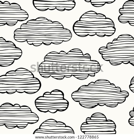 Seamless hand drawn black and white texture with linear sketchy clouds. Template for design and decoration textile, backgrounds, wrapping paper, package - stock vector