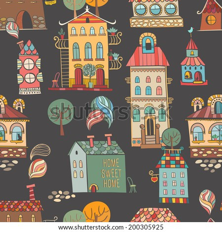 Seamless hand drawn buildings in vintage style on dark background. Vector illustration.
