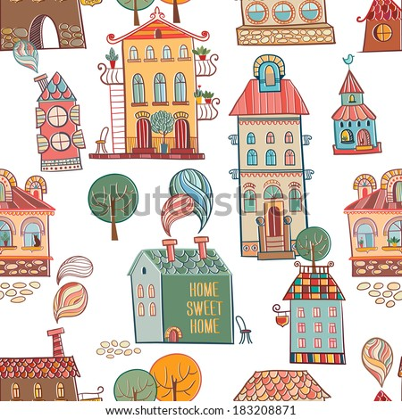Seamless hand drawn buildings in vintage style. Vector illustration.