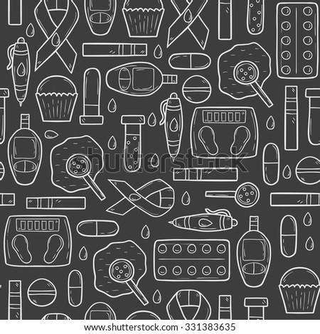 Seamless hand drawn cartoon background on diabetes theme - stock vector