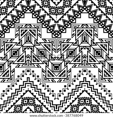 Seamless hand drawn chevron pattern with aztec ethnic and tribal ornaments. Vector black and white boho fashion illustration - stock vector