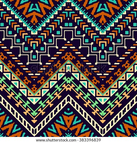 Seamless hand drawn chevron pattern with ethnic and tribal ornament. Vector dark and bright colors fashion illustration. - stock vector