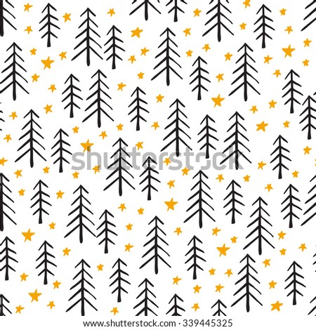 Seamless hand-drawn Christmas and New Year pattern.Vector abstract Hand drawn background for design and decoration textile, covers, package, wrapping paper. Doodles illustration - stock vector