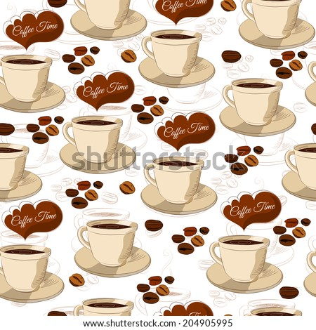 Seamless hand drawn coffee pattern on white background. Vector illustration. - stock vector