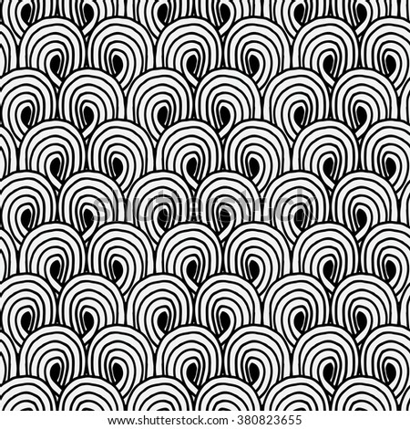 Seamless hand drawn doodle pattern. Art decor style. Wallpaper with ink elements