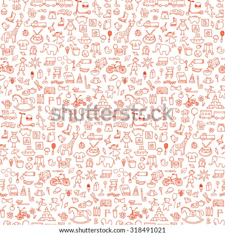 Seamless hand drawn doodle pattern with toys. Vector  illustration for backgrounds, web design, design elements, textile prints, covers, greeting cards - stock vector