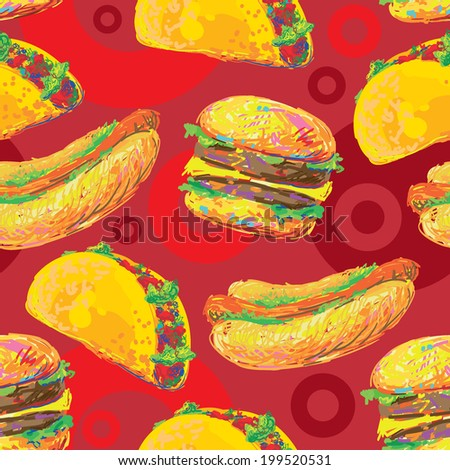 Seamless hand drawn fast food pattern background. Seamless background with cartoon style hamburger, mexican food delicious taco and hot dog. Fast food. Unhealthy Eating Pattern  - stock vector