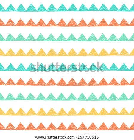 Seamless hand drawn geometric pattern. Vector illustration - stock vector