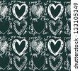 Seamless hand drawn heart pattern - stock vector